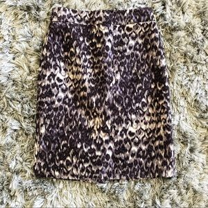 J. Crew Animal Print Wool Silk Pencil Skirt Size 4